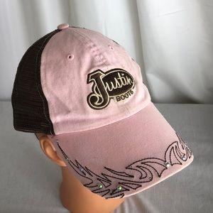 ea57bffde78 Justin Boots Pink Baseball Hat Adjustable